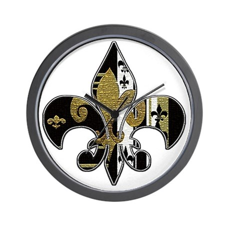 Superb Fleur De Lis Bling Black And Gold Wall Clock