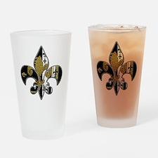 Fleur de lis bling black and gold Drinking Glass