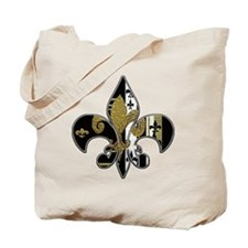 Fleur de lis bling black and gold Tote Bag