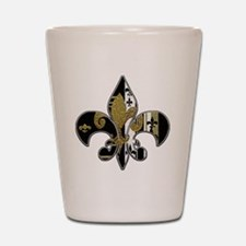 Fleur de lis bling black and gold Shot Glass