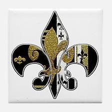 Fleur de lis bling black and gold Tile Coaster