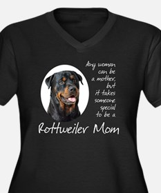Rottie Mom Women's Plus Size Dark V-Neck T-Shirt