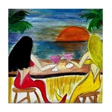 martini mermaids Tile Coaster