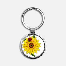 Mosaic Sunflower with Lady Bug Round Keychain