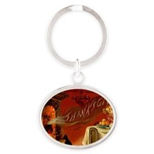 thanksgiving dinner Oval Keychain