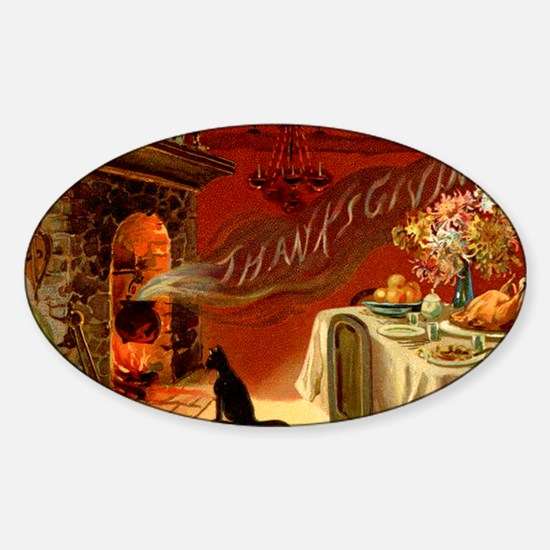 thanksgiving dinner Sticker (Oval)