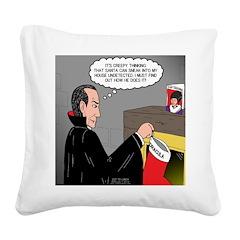 A Vampire Contemplates Santa Square Canvas Pillow
