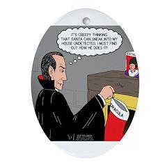 A Vampire Contemplates Santa Ornament (Oval)
