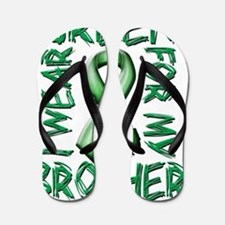 I Wear Green for my Brother Flip Flops