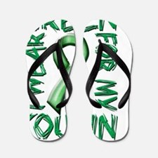 I Wear Green for my Cousin Flip Flops