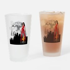 rock and roll e-guitar sexy babe Drinking Glass