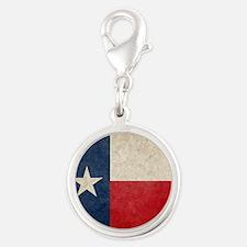 Texas Flag Silver Round Charm