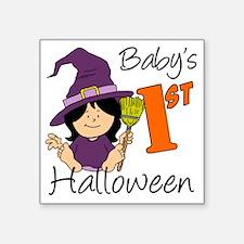 "First Halloween Girl Square Sticker 3"" x 3"""