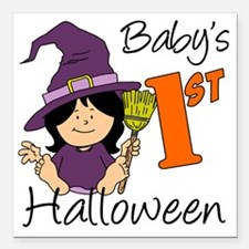 """First Halloween Girl Square Car Magnet 3"""" x 3"""""""