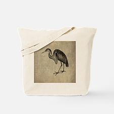 Vintage Heron Drawing Tote Bag