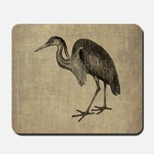 Vintage Heron Drawing Mousepad