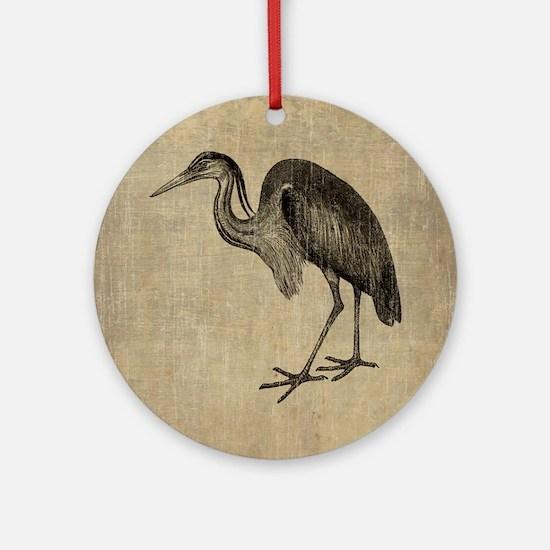 Vintage Heron Drawing Round Ornament