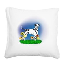 Dalmatian with Daisies Square Canvas Pillow