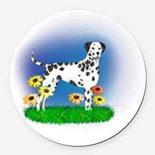 Dalmatian with Daisies Round Car Magnet