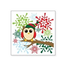 "Owl Christmas Square Sticker 3"" x 3"""