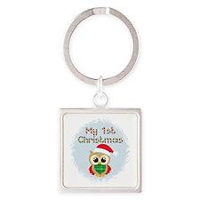 My 1st Christmas owl (boy) Square Keychain