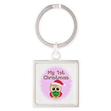 My 1st Christmas owl (girl) Square Keychain