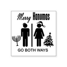 "Merry Hanumas - Go Both Way Square Sticker 3"" x 3"""