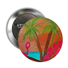 "Flamingo in Paradise Art 2.25"" Button"