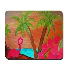 Flamingo in Paradise Art Mousepad