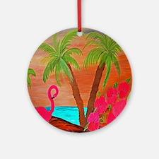 Flamingo in Paradise Art Round Ornament