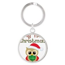 My 1st Christmas owl Round Keychain