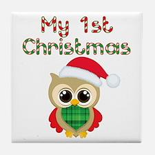 My 1st Christmas owl Tile Coaster