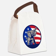 Republican Elephant Mascot USA Fl Canvas Lunch Bag