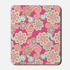 FlowerRetro_Pink_Large Mousepad