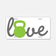 Love Kettlebell Green Aluminum License Plate