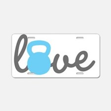 Love Kettlebell Blue Aluminum License Plate
