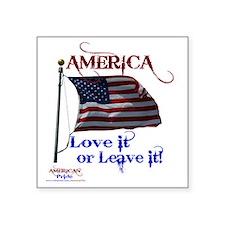 "America Love It or Leave it Square Sticker 3"" x 3"""