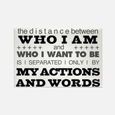 My Actions and Words Grey/Black Rectangle Magnet