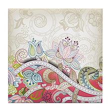 Vintage Floral Pattern Tile Coaster
