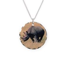 Rhinoceros Necklace Circle Charm