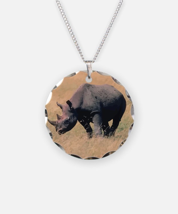 Rhinoceros Necklace Circle Charm