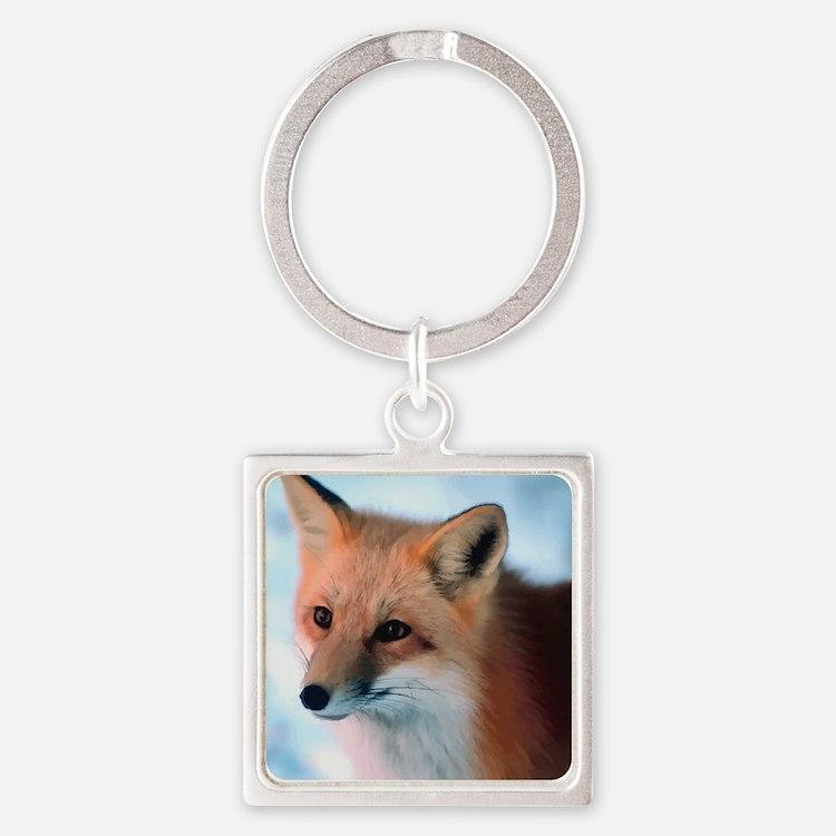 Cute Fox Square Keychain