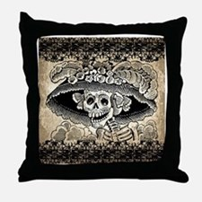 Vintage Catrina Calavera Throw Pillow