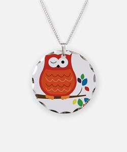 Bold Orange Owl with leaves Necklace