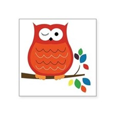 """Bold Orange Owl with leaves Square Sticker 3"""" x 3"""""""