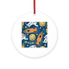 Astronaut Pattern Round Ornament