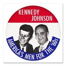 "KENNEDY / JOHNSON Square Car Magnet 3"" x 3"""