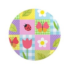"""Colorful Patchwork 3.5"""" Button"""