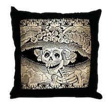 Vintage Catrina Calavera Throw Pillow