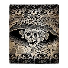 Vintage Catrina Calavera Throw Blanket